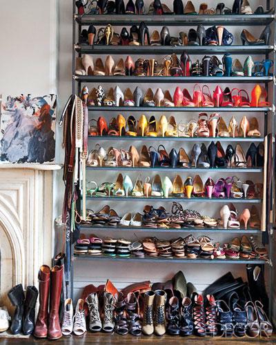 J.Crew's Creative Director Jenna Lyons' Closet | Elle Decor | Shoe Storage Ideas