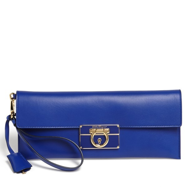 Salvatore Ferragamo Afef Leather Clutch Zaffiro Viola