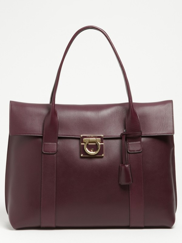 Salvatore Ferragamo Sookie Large Leather Shopper in Barolo