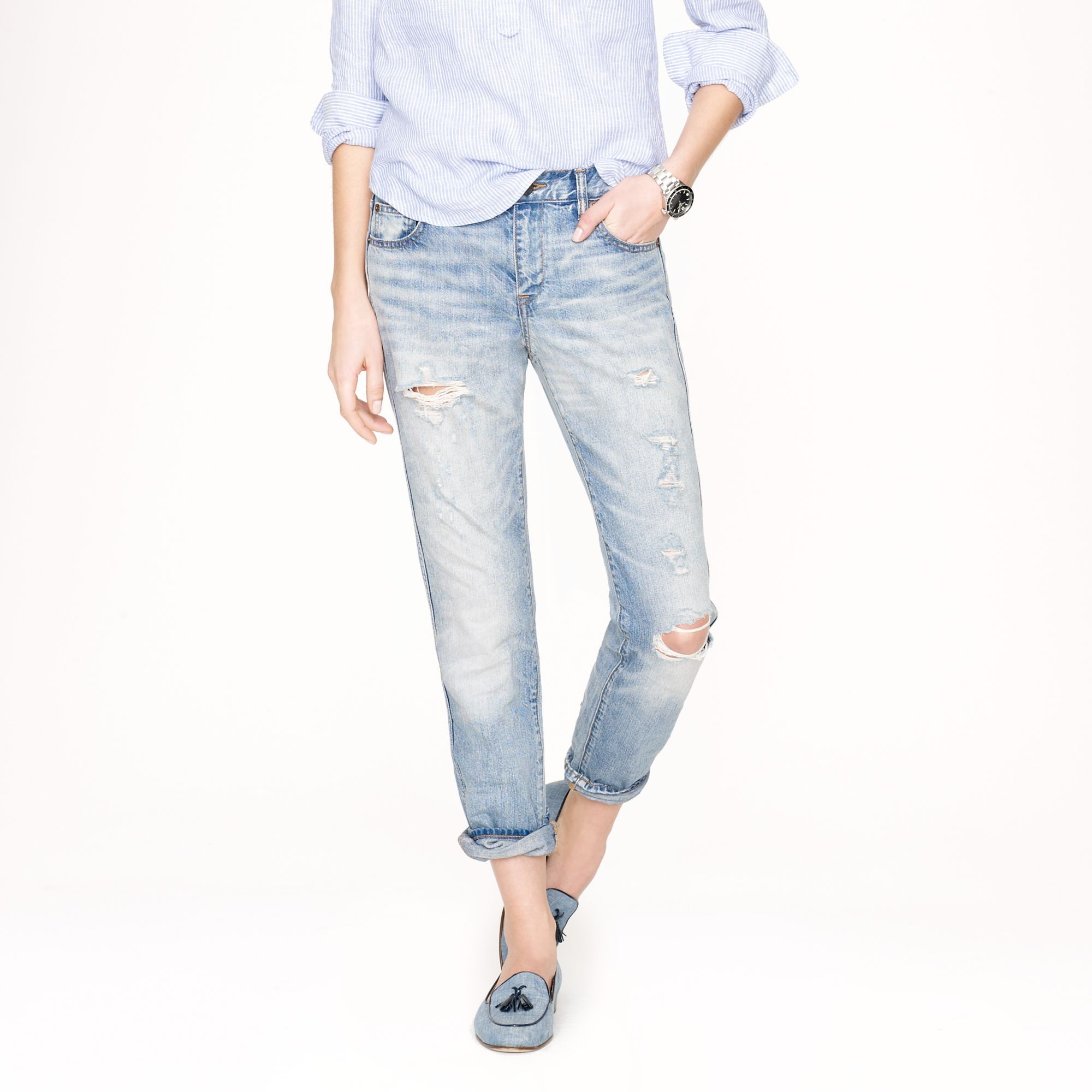 J.Crew Destroyed Boyfriend Jean in Light Roxy Wash | jcrew spring collection