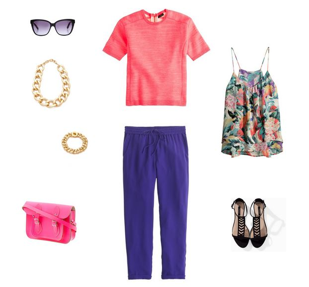 """How She'd Wear It with Style and Cheek - Pink with Brights """"Blue"""""""