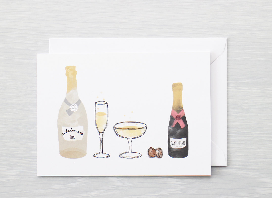 Champagne Greeting Card via BeanieonHelinaINK | Champagne Inspired Gifts