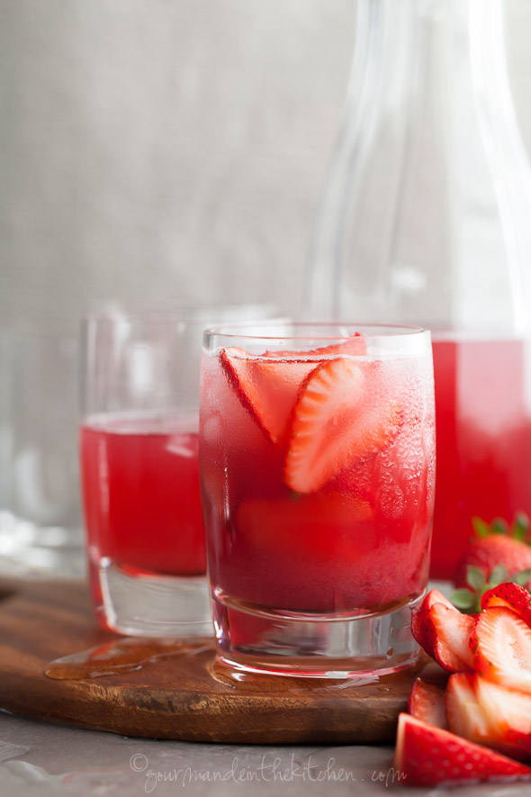 Hibiscus Strawberry Rhubarb Iced Tea Recipe | Gourmande in the Kitchen | Pinterest Picks - Flavored Iced Tea Recipes