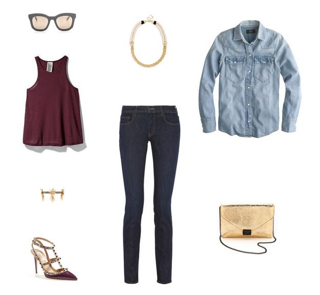 How She'd Wear It with Style and Cheek - Denim on Denim Chambray and Jeans