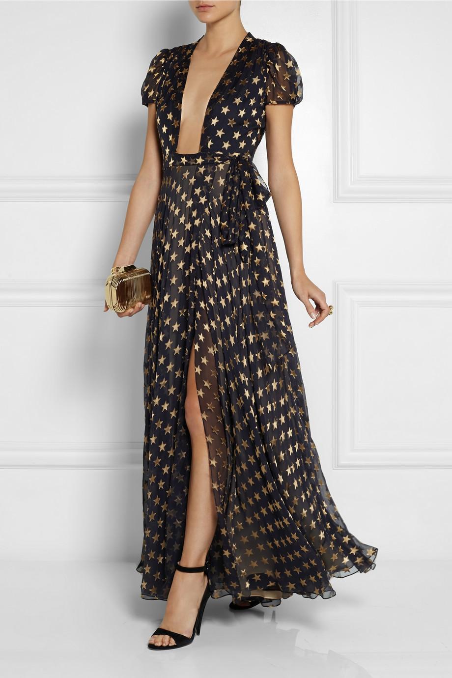 Diane Von Furstenberg Silk-blend chiffon wrap gown