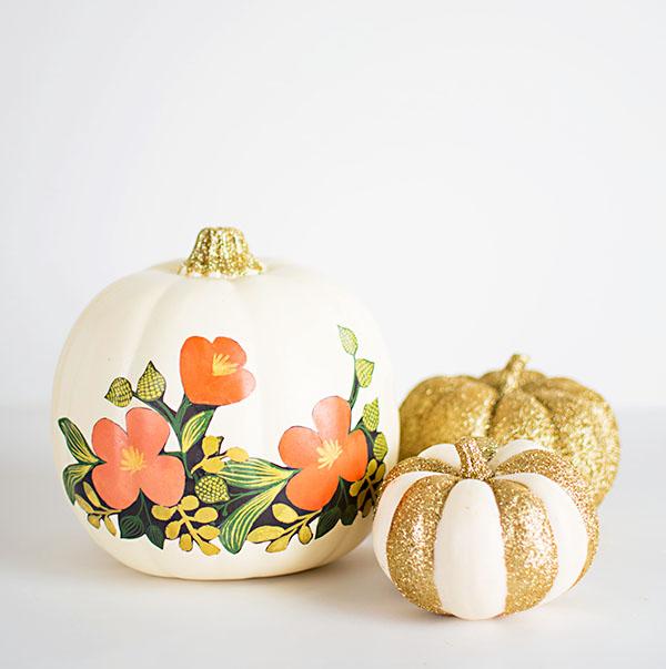 Easy Halloween DIY: Glitter & Floral Pumpkins | Amy of Homey Oh My! for PB Teen | Pinterest Picks - No Carve Pumpkin Ideas