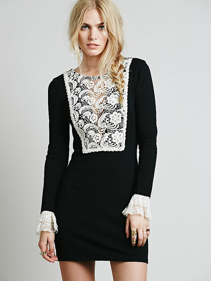 Free People Wednesday Bib Dress | Spooky Style - The Black and White Edition