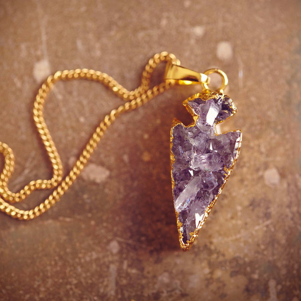 Natural Amethyst Arrowhead Necklace by Wild Air and Co. from Preserve - Blake Lively's Preserve