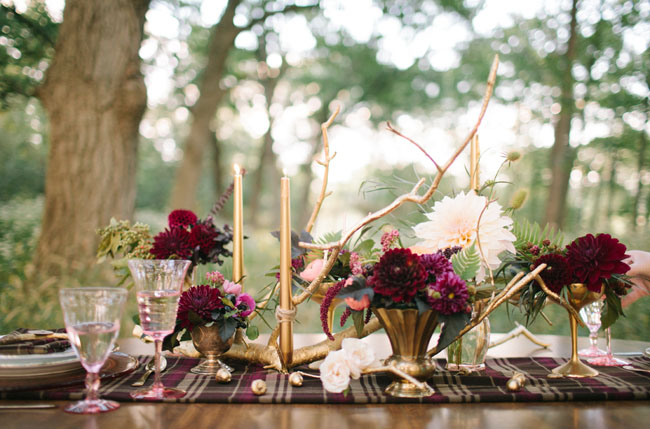 Fall Woodland Wedding Inspiration | Green Wedding Shoes | Simple Thanksgiving Table Setting Ideas