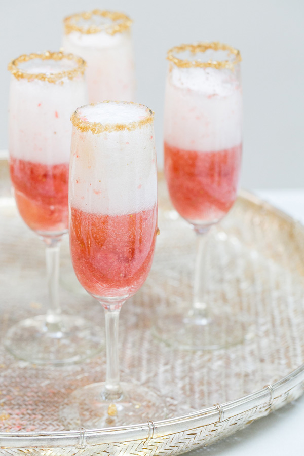 Champagne and Strawberries with a Gold Rim | Sugar and Charm | Six Champagne Cocktails to Try this Winter