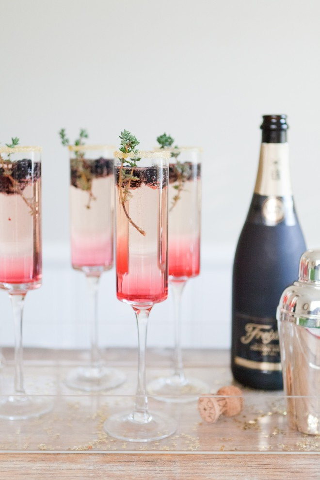 Cocktail Hour Blackberry Thyme Sparkler | The Effortless Chic | Six Champagne Cocktails to Try this Winter