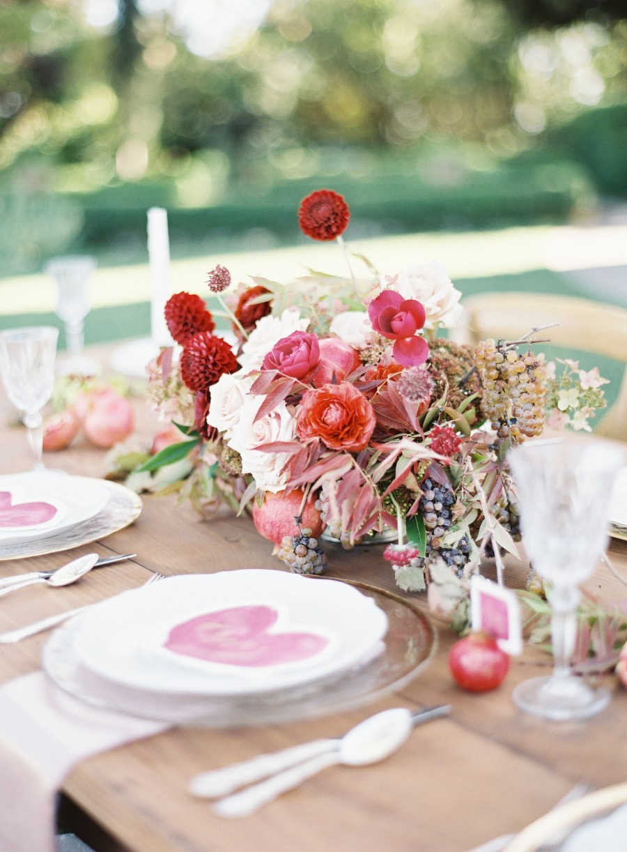 Merlot, Blush & Gold Wedding Inspiration | Style Me Pretty | Valentine's Day Inspiration