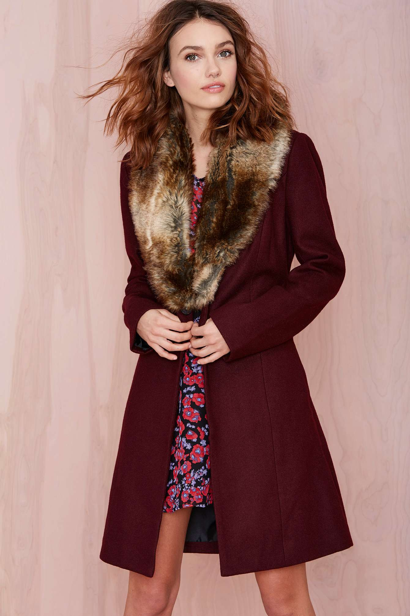 Nasty Gal Greenwich Coat in Wine