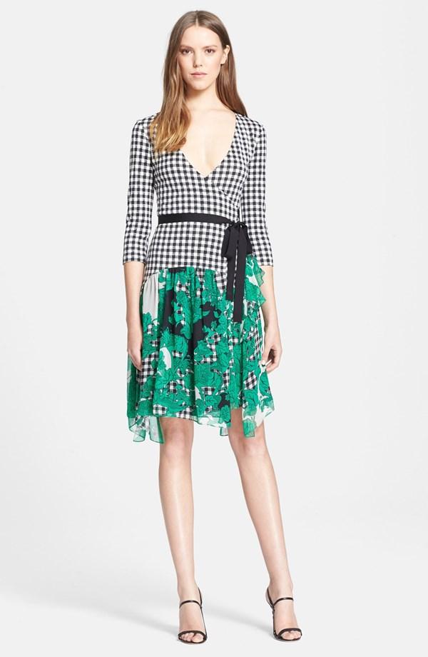 Diane Von Furstenberg Riviera Gingham Print Silk Wrap Dress