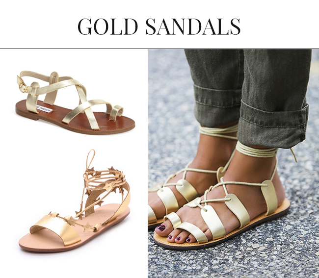 Gold Sandals for Spring Summer| Gladiator Sandals 2015