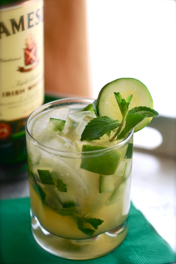 Green Whiskey Smash | Always Order Dessert | Six Green Cocktails for St. Patrick's Day