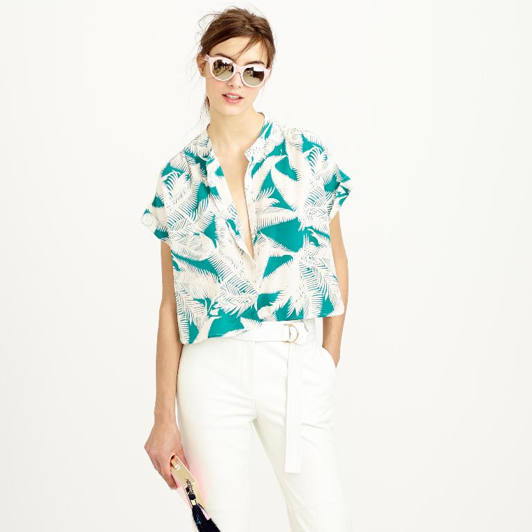 J.Crew Cropped Silk Popover in Tropical Fern