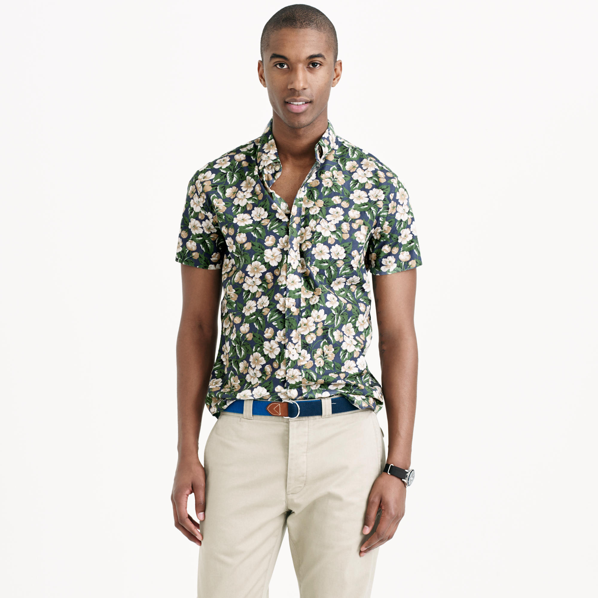 J.Crew Secret Wash Short-Sleeve Shirt in Faded Indigo Floral | Men's Prints