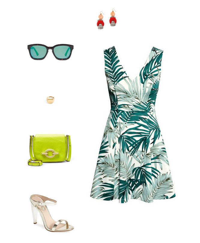 How She'd Wear It with Style and Cheek - Date Night Palm Prints