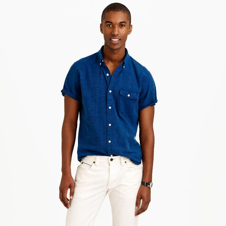 J.Crew Secret Wash Short-Sleeve Shirt in Indigo | Men's Short Sleeve Shirts
