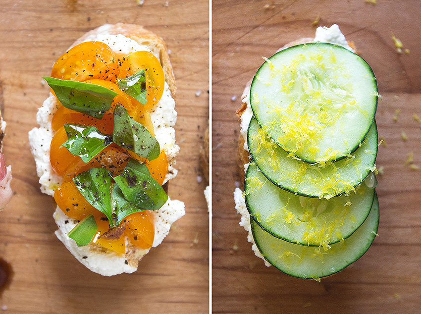 Tomato Basil Ricotta Crostini + Cucumber Lemon Zest Ricotta Crostini | Summertime Ricotta Crostini on Style and Cheek