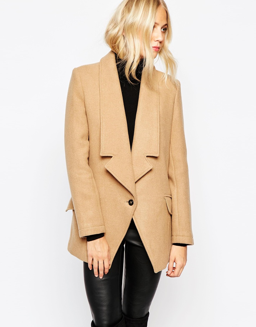 Parka London Alana Tuxedo Wool Coat | Camel Coats