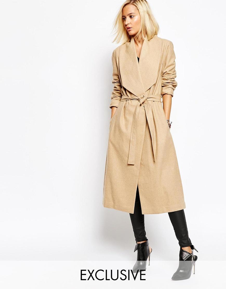Religion Passage Drape Front Dresser Wool Coat With Belt | Camel Coats