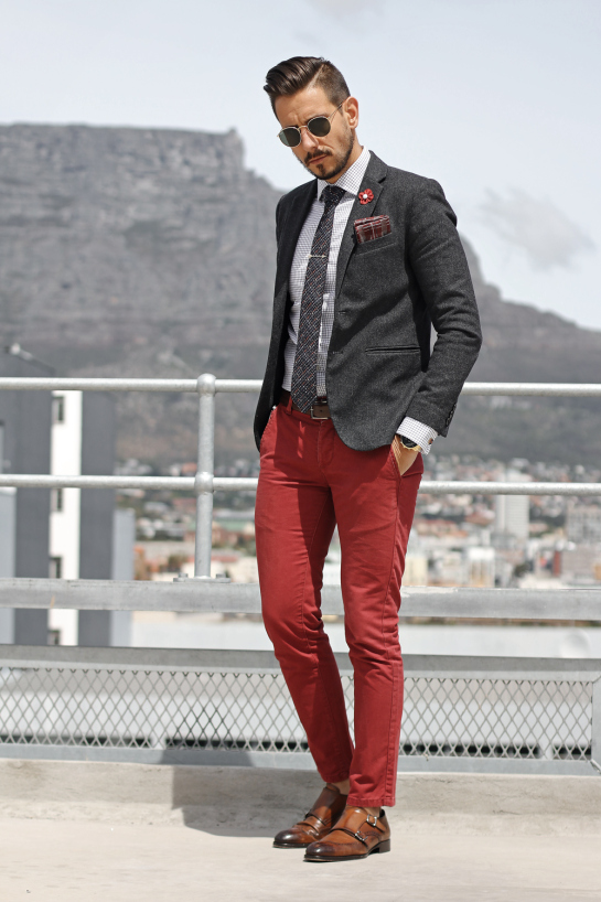 Fancy Friday in Red and Grey | What My Boyfriend Wore | Fall Menswear Style Inspiration
