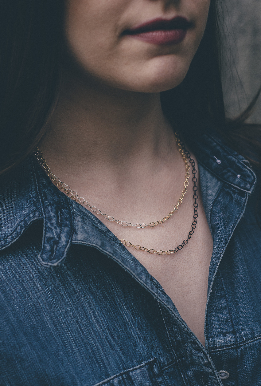 Masha Moon Jewelry - Luna White Necklace and Luna Black Necklace on Julia of Style and Cheek. Photo by Philip Woolridge | The Simple Elegance of Masha Moon Jewelry | Favorite Blog Posts of 2015