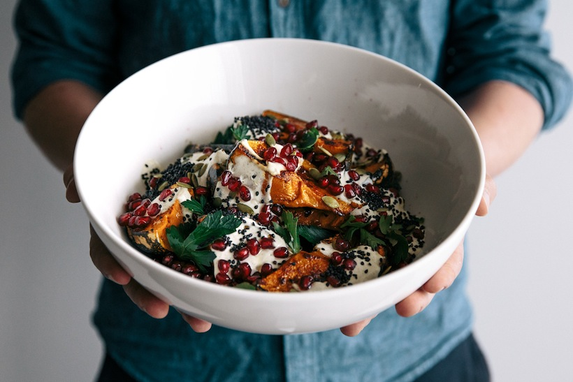 Pumpkin Salad with Pomegranate and Cumin Yogurt | Camille Styles | Drool Worthy Thanksgiving Side Dishes