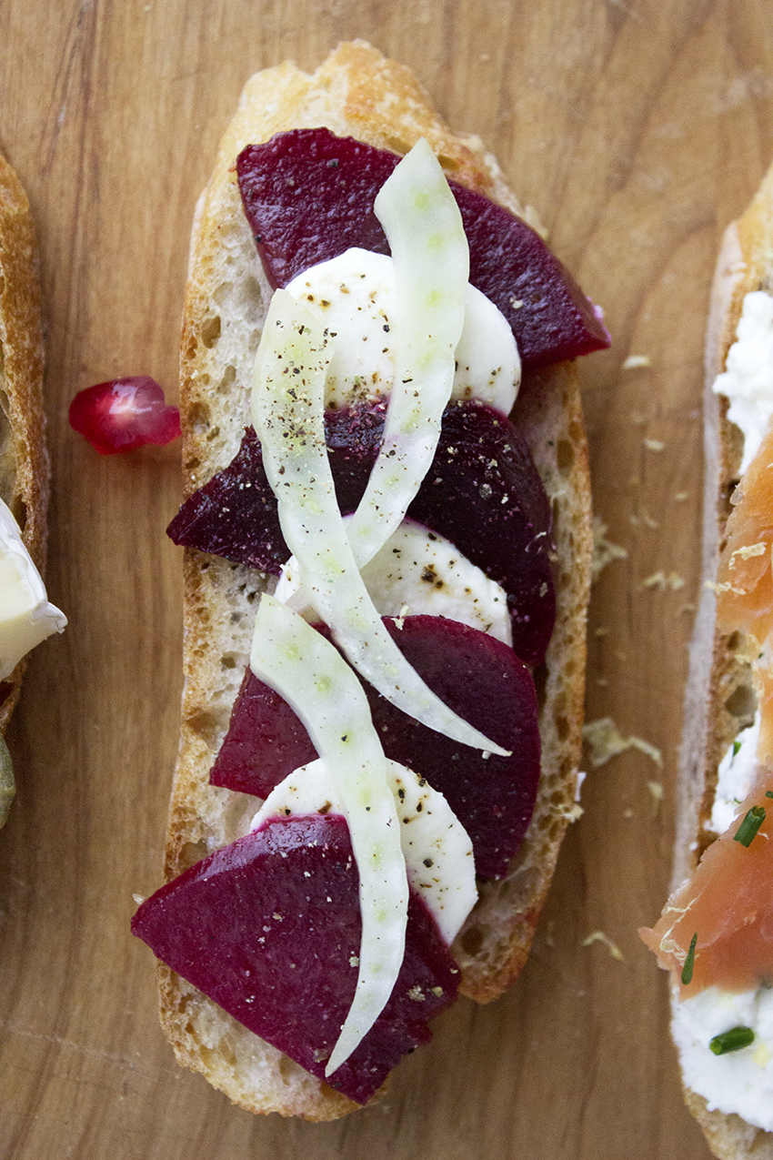 Beets, Mozzarella, and Fennel Crostini | Winter Crostini with Style and Cheek