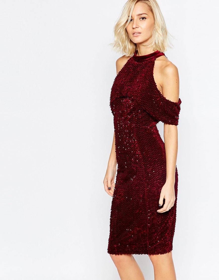 Lavish Alice Velvet & Sequin Open Sleeve Midi Dress | Sexy New Year's Eve Dresses
