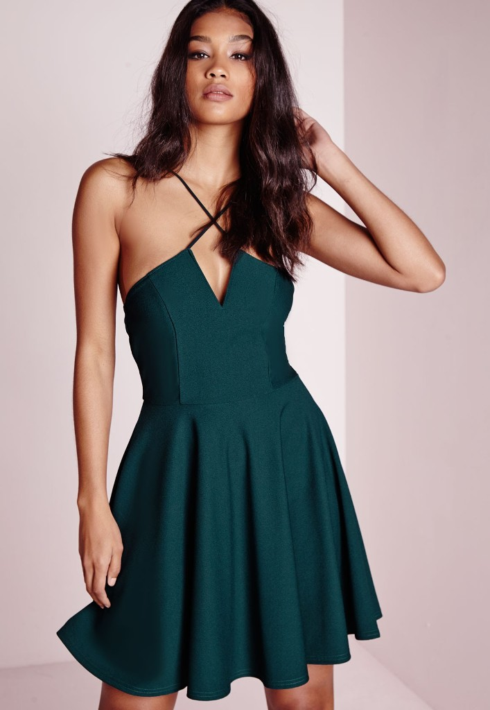 Missguided Cross Strap Skater Dress Teal | Sexy New Year's Eve Dresses