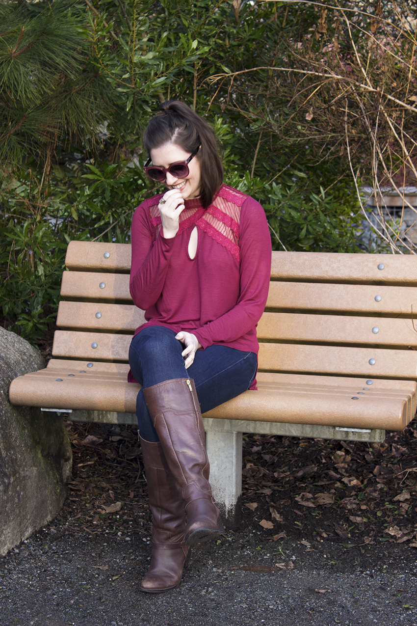 Red Winter Outfit Katrine Sunglasses in Deep Red, Free People New Romantics Ruby Jane Tee 2