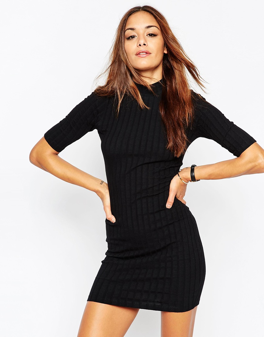 10 T-Shirt Dresses to Wear with a Leather Jacket - ASOS Body-Conscious Dress With High Neck in Chunky Rib