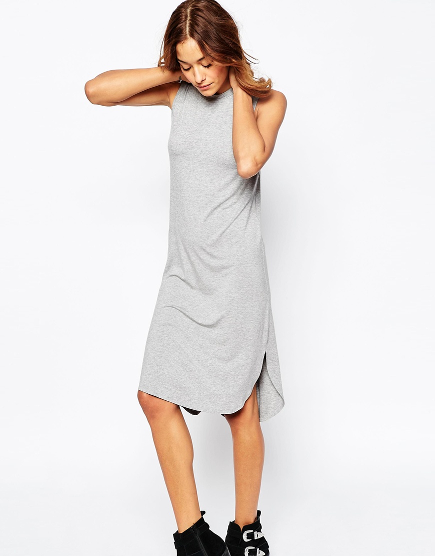 10 T-Shirt Dresses to Wear with a Leather Jacket - ASOS Sleeveless Midi Dress with Curved Hem