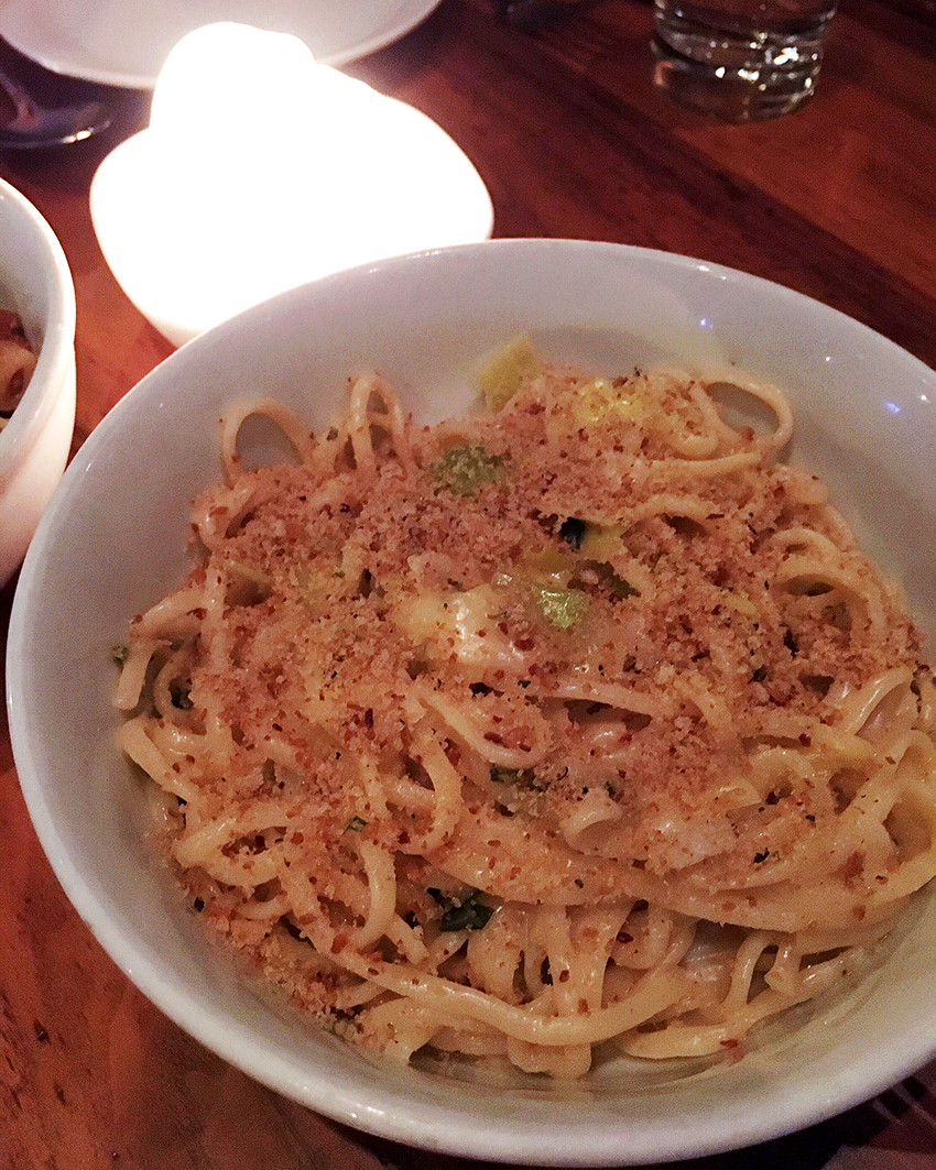 Anchovies and Olives Linguine Uni, Roasted Leeks, Chili | Birthday Gluttony in Cap Hill