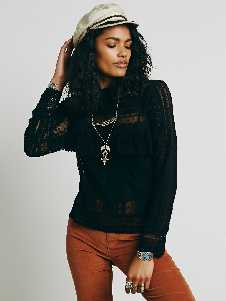 Romantic Free People Blouses - Free People Be Mine Lace Top