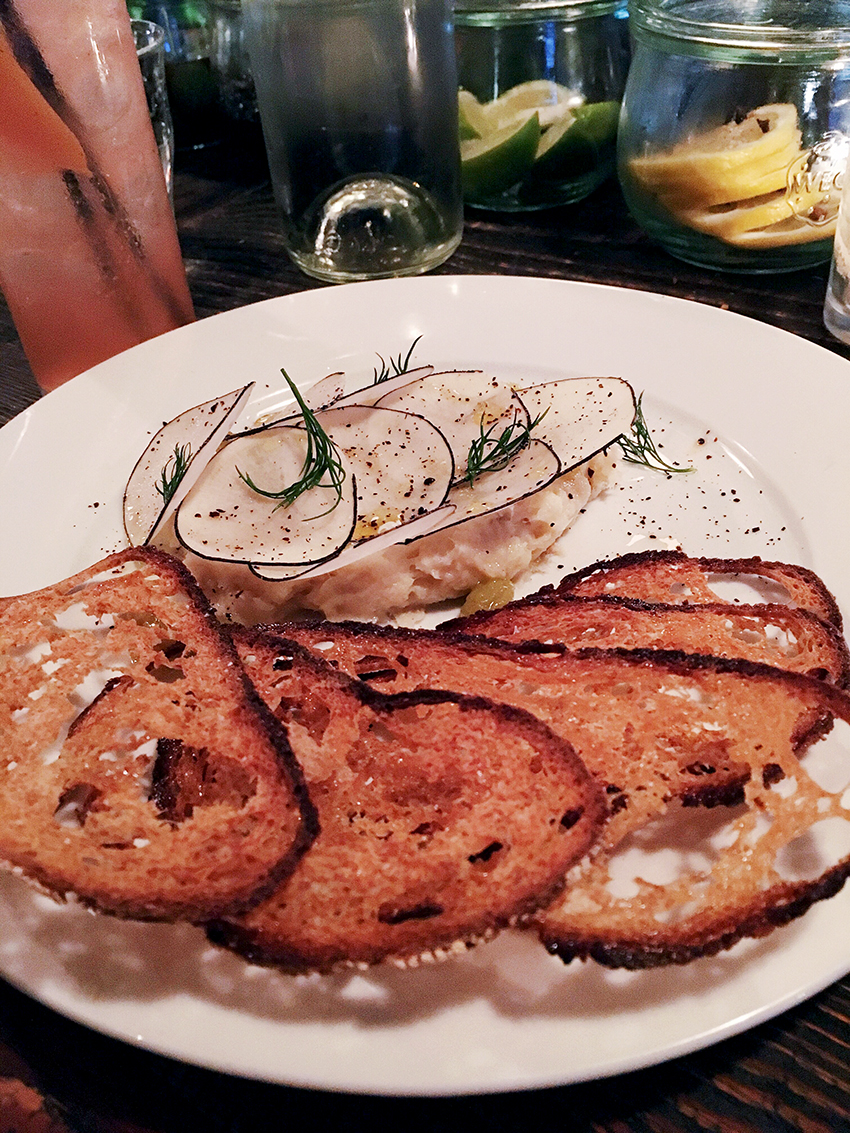 Sitka & Spruce ling cod brandade, rye crisps, sultanas & radish | Birthday Gluttony in Cap Hill