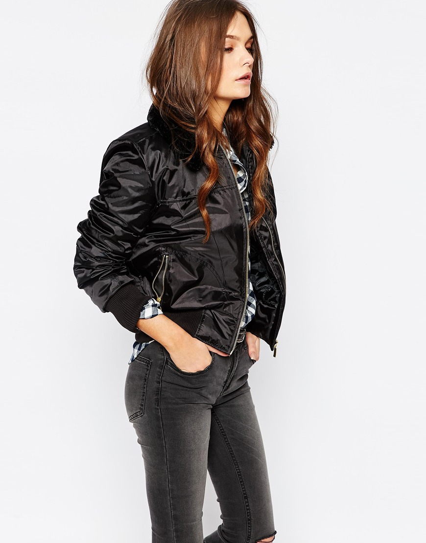 Bomber Jackets for Spring - ASOS New Look Faux Fur Collar Bomber Jacket
