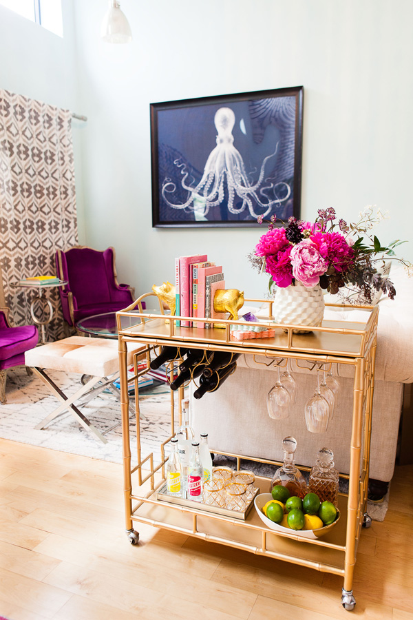 Bar Cart Inspiration - At Home With Courtney Arcese of Love + Brain Films | Glitter Guide