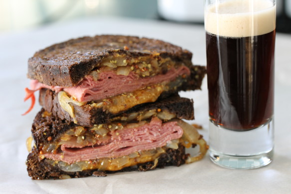 8 Savory Guinness Recipes - Corned Beef Grilled Cheese Sandwich with Guinness Caramelized Onions | Shredded Sprout