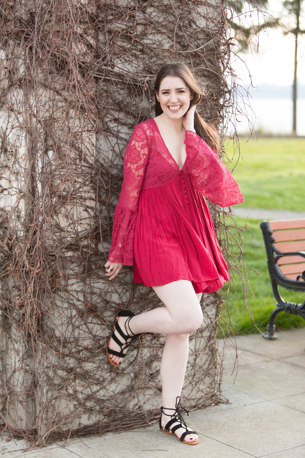 Free People Red Lace Dress - Spring Outfit - Free People With Love Dress and SARTO By Franco Sarto Pierson Lace-Up Sandal | Style and Cheek