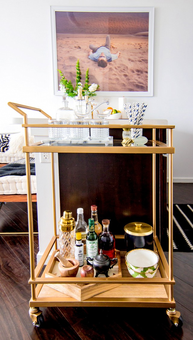 Bar Cart Inspiration - Home Tour A Glam Bohemian Loft in Chicago | My Domaine