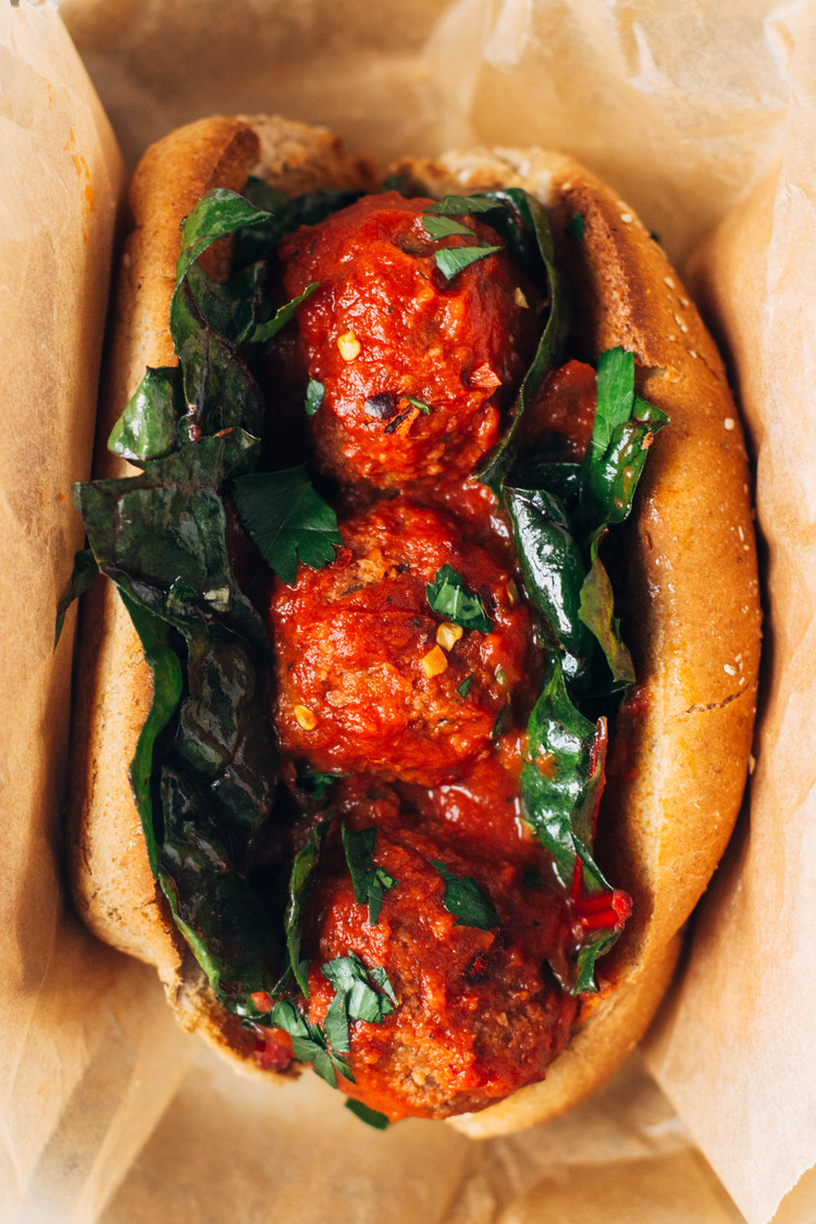 Six Delicious Vegan Recipes - White Bean Mushroom Meatball Subs | Sobremesa