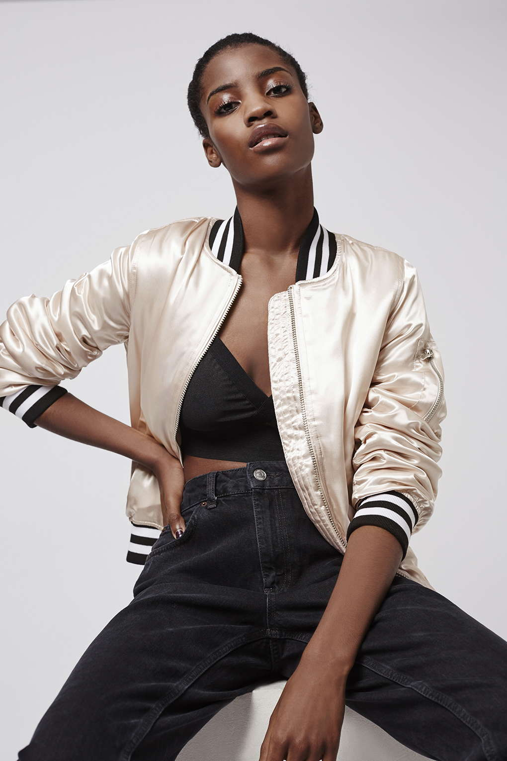 Bomber Jackets for Spring - Topshop Sateen MA1 Bomber Jacket