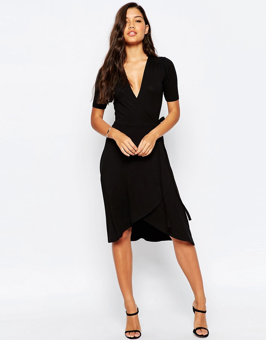 Pretty Wrap Dresses for Spring Flings - ASOS Midi Tea Dress With Wrap Front
