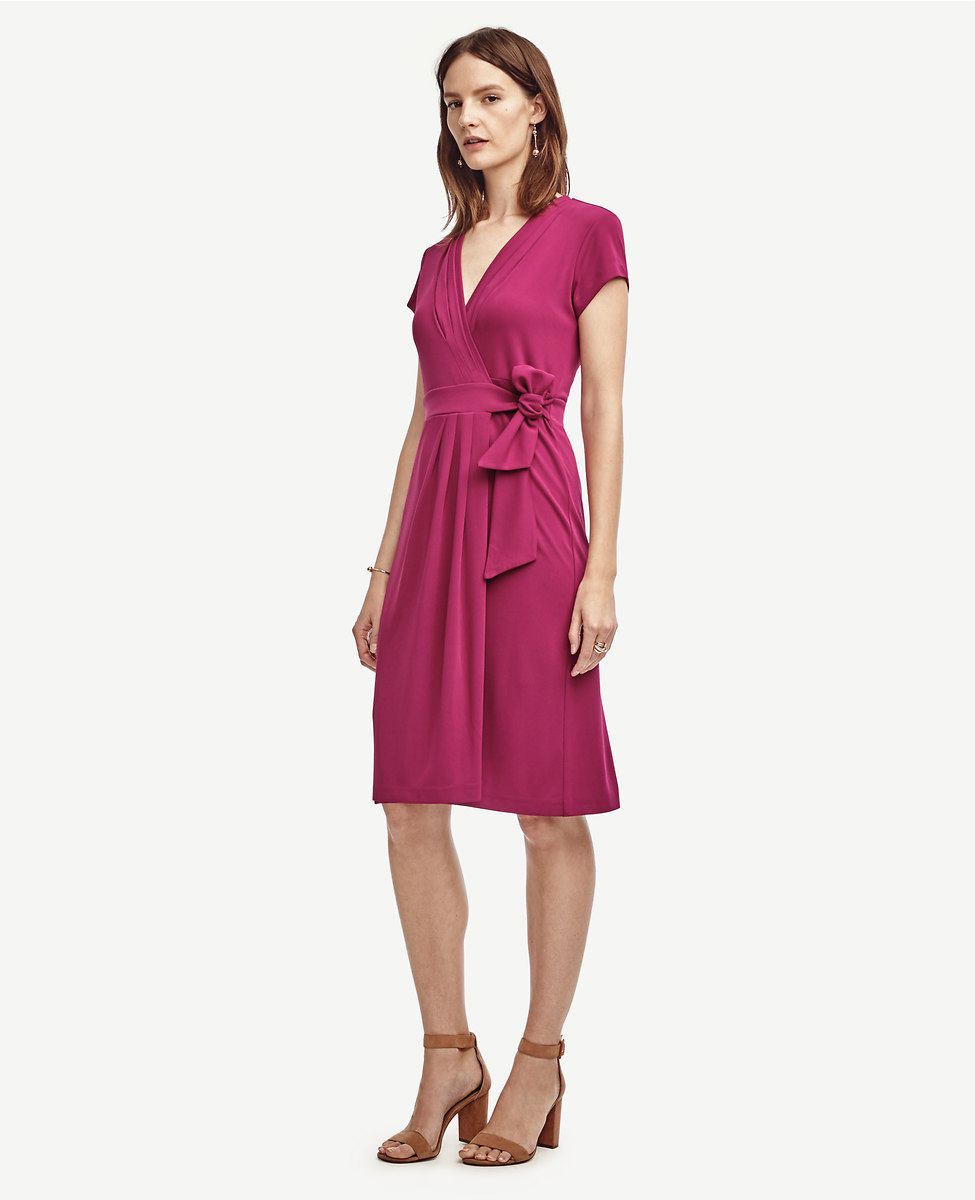 Pretty Wrap Dresses for Spring Flings - Ann Taylor Pleated Wrap Dress