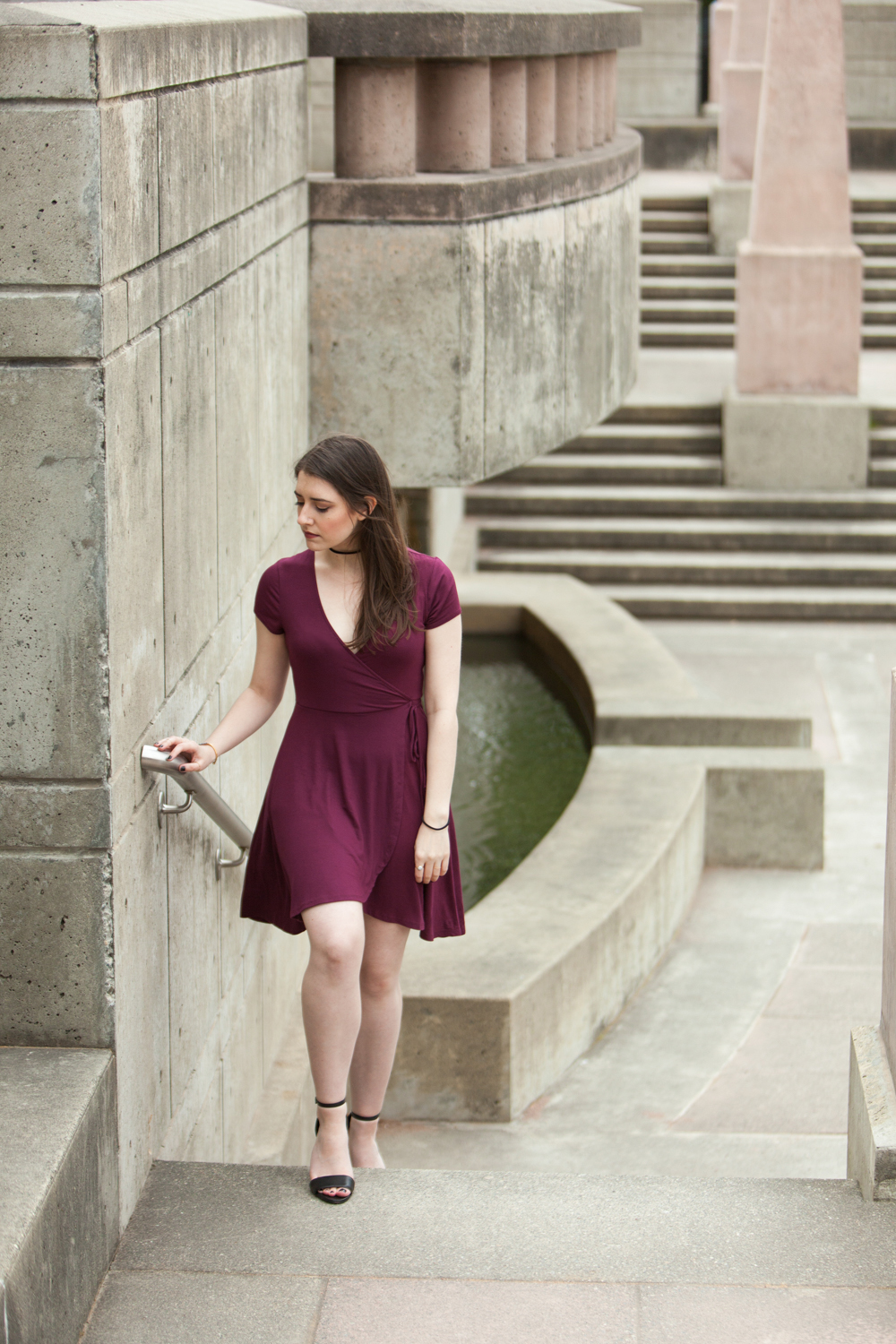 Faux wrap dress outfit - Urban Outfitters Kimchi Blue Ballet Surplice Dress, Moorea Seal Jewelry 6