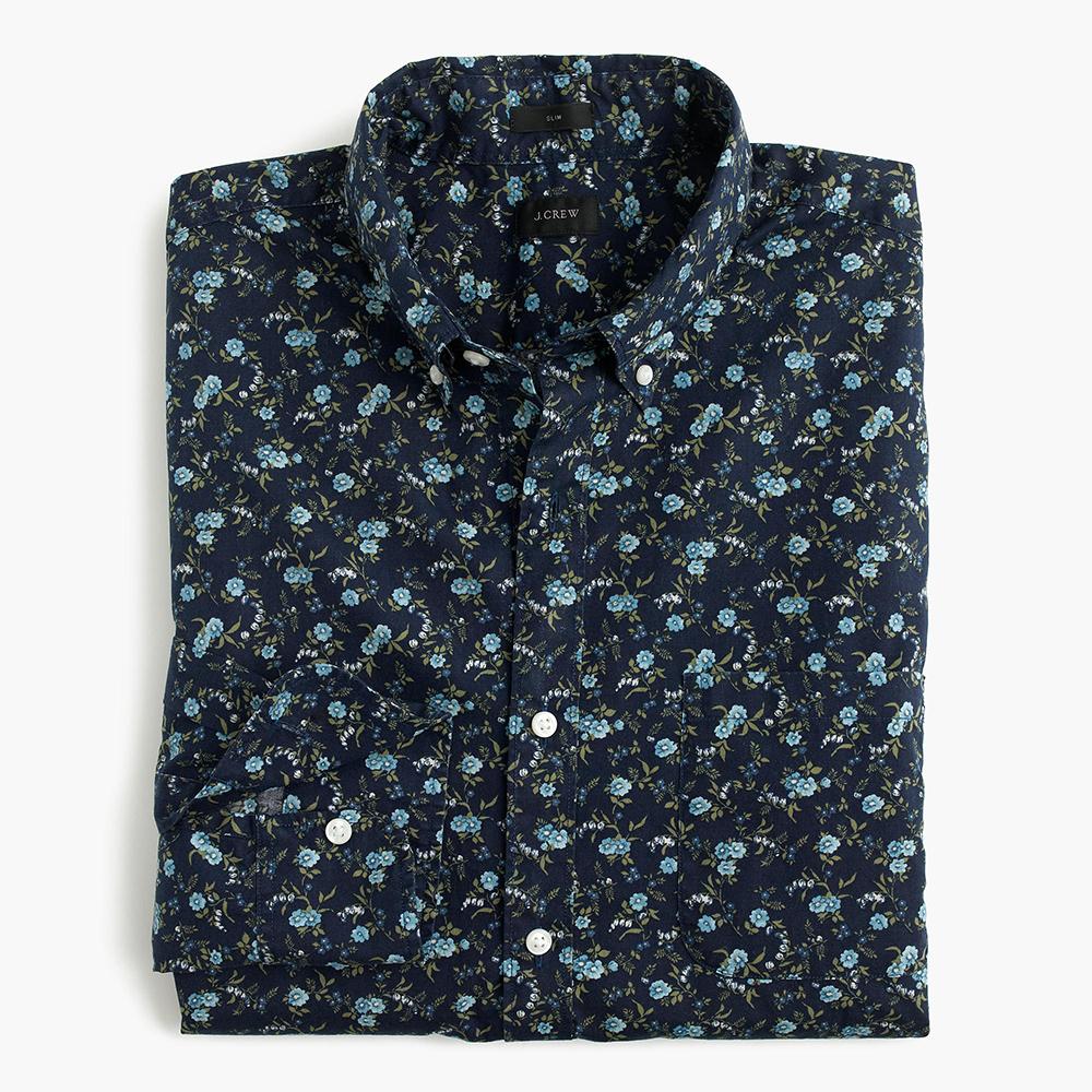 Floral Prints for Guys - J.Crew Slim Secret Wash Shirt in Floral